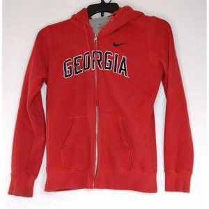 Nike Georgia Mens Jacket Size Large Red Hooded Pockets Casual Wear Classic